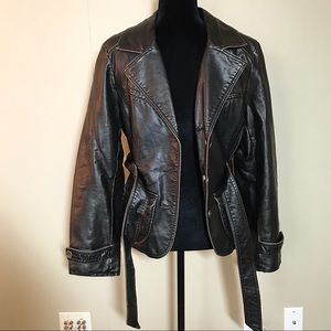 NEW vintage black classy women's leather jacket